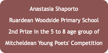 Anastasia Shaporto Ruardean Woodside Primary School 2nd Prize in the 5 to 8 age group of Mitcheldean Young Poets' Competition