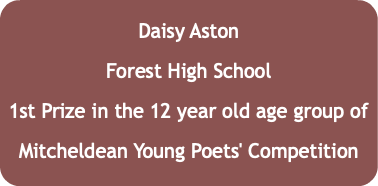 Daisy Aston Forest High School 1st Prize in the 12 year old age group of Mitcheldean Young Poets' Competition